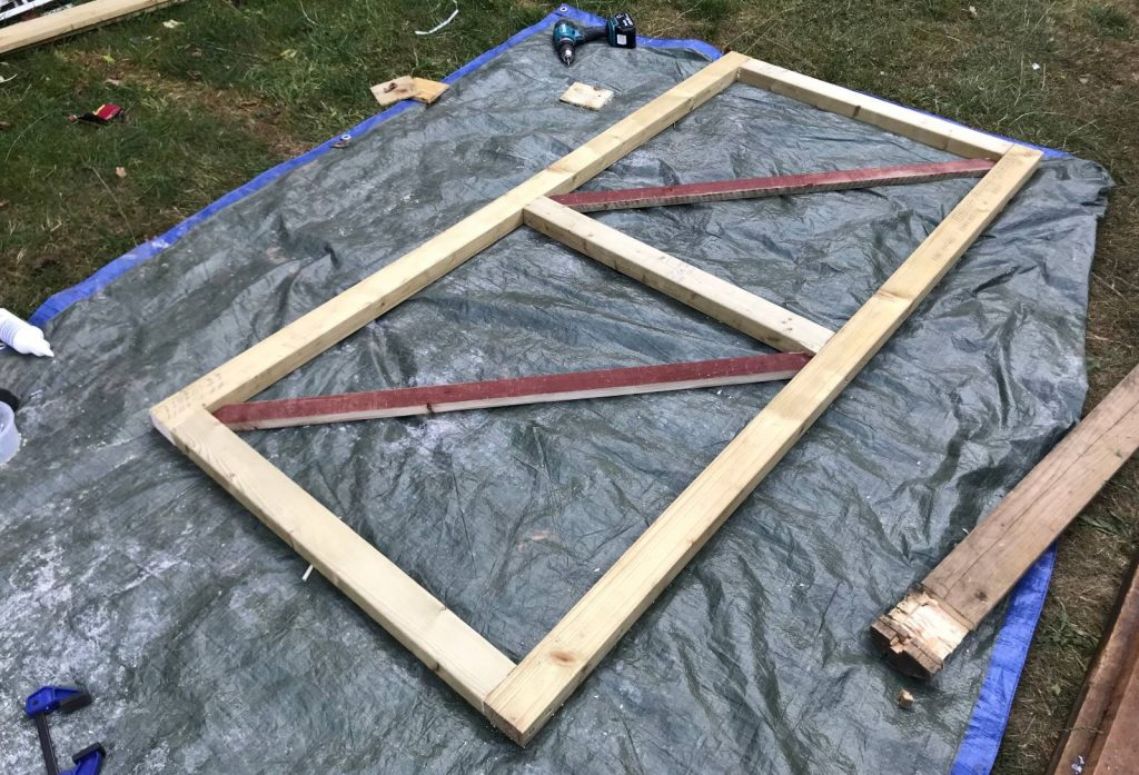 Garden gate main frame with cross braces fitted