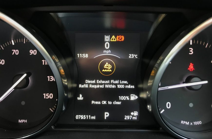 """What to do when this Range Rover Evoque warning message appears: """"Diesel Exhaust Fluid Low, Refill Required"""""""