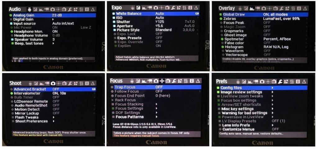 All other magic lantern settings options screenshot from my canon550d techlifediy.com