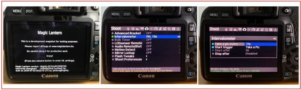 Magic Lantern intervalometer options settings photos canon 550d